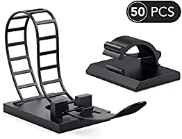 AGPTEK Cable Clips,50 Pieces Adhesive Cord Organizers, 25PCS Adjustable Multipurpose Cable Ties and 25PCS Cable Clips for...