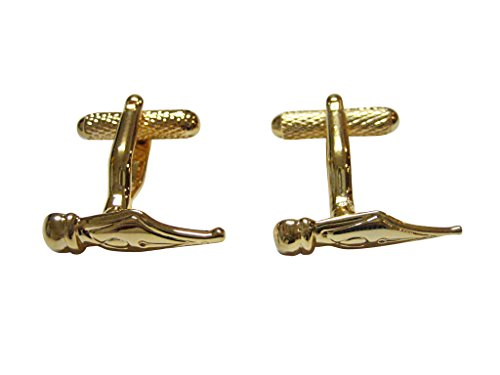 (Gold Toned Fountain Pen Nib Point Cufflinks )