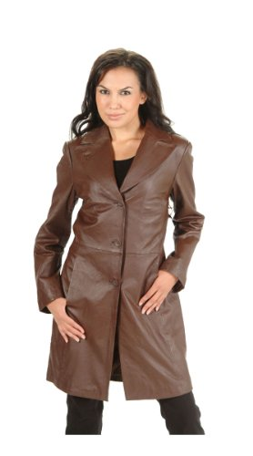 Dona Michi Women's 3/4 Length Jacket Brown Genuine Leather-Brown-l