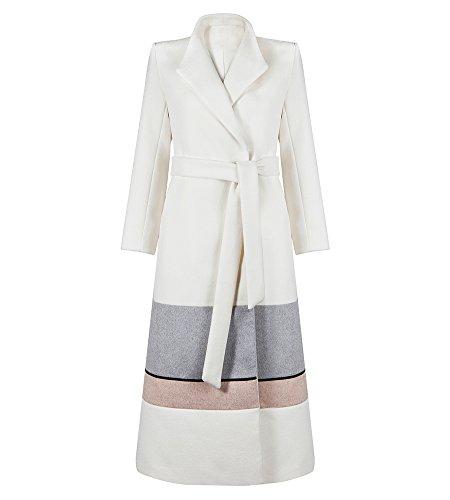 Hego Women's 2016 Winter Turn-down Collar White Long Wool Coat H2919 (S, White)