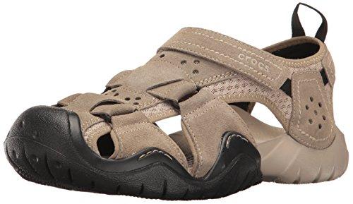 Crocs Mens Sandalo Da Pesca In Pelle Scamosciata Sandalo Cachi / Ciottoli