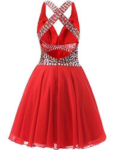 Coral Short Party V Dresses Chiffon LFBZ006 Neck Women's Homecoming Beaded Gowns Evening BessWedding 5Bfgxq7wz5