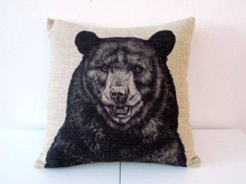 Decorbox Cotton Linen Square Throw Pillow Case Decorative Cushion Cover Pillowcase for Sofa Animal Black Bear 18