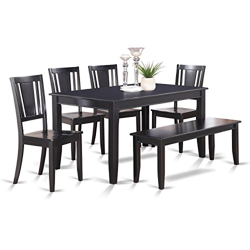 6 Pc Dining Table with bench-Dining Table and 4 Dining Chairs and Bench