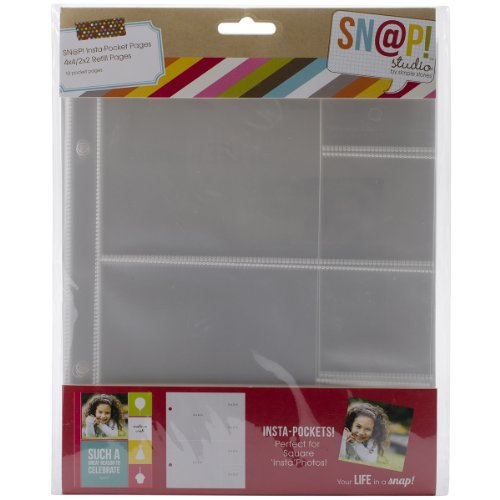 Simple Stories Snatp! Insta Pocket Pages for 6 by 8-Inch Binders with 4 by 4-Inch and 2 by 2-Inch Pockets, 10-Pack