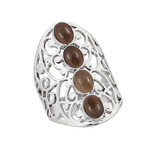 Genuine Smoky Quartz Oval .925 Silver Plated Multi Stone Filigree Rings for Women and Girls (Smoky Faceted Quartz Ring Oval)