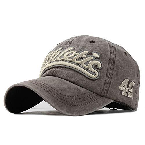 ウォッシュデニム 野球帽 秋夏帽子 男性用女性 帽子カセット帽子レター刺繍,カーキ,調節可能な