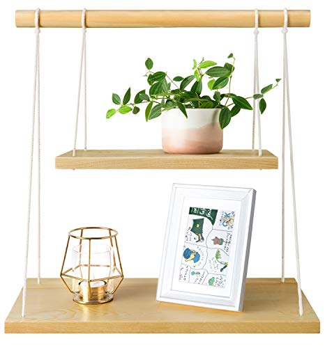Mkono Wall Hanging Shelf Wood Floating Shelves Storage Display Swing Rope Organizer