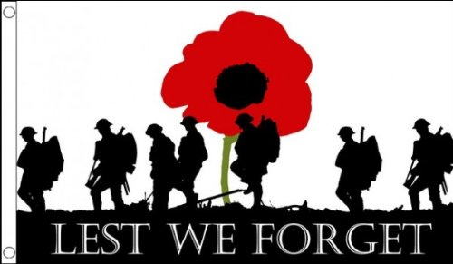 5ft x 3ft (150 x 90 cm) Lest We Forget Poppy Remembrance Day War Heroes Soldiers Armed Forces 100% Polyester Material Flag