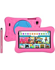$79 » 7 inch Kids Tablets Android 10 Go, 2+16GB ROM, APP Pre-Installed, 2.4G WiFi only, 1024x600 Touchscreen, AWOW Funtab 701, Adjustable Kid-Proof Case, Active Pen (7 inch-KIDOZ-216-Pink)