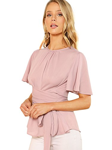 (Romwe Women's Self Tie Wist Short Sleeve Casual Chiffon Blouse Tops Pink Medium )