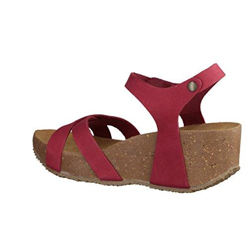 Bionatura Fregene- Damenschuhe Sandalette / Sling, Rot, leder (nabuk), absatzhöhe: 55 mm