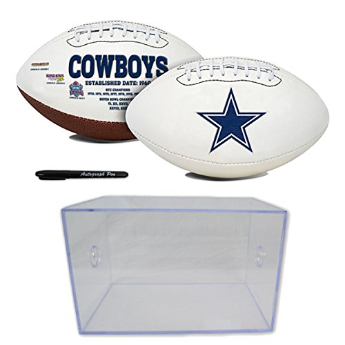 Official National Football League Fan Shop Authentic NFL Signature Series Super Bowl Ball and Display Case. Great Collectible Bundle for the office or Man Cave (Dallas Cowboys) ()