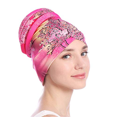 Toponly Islamic Muslim Hijab Turban Hat Headwrap Scarf Cover Chemo Cap Newly for Women Hot Pink