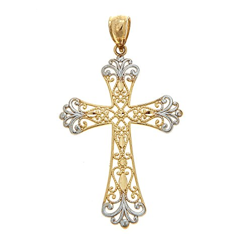 Real Cross Charm Gold (14K Real Yellow and White Gold Filigree Shiny Cross Pendant Charm)
