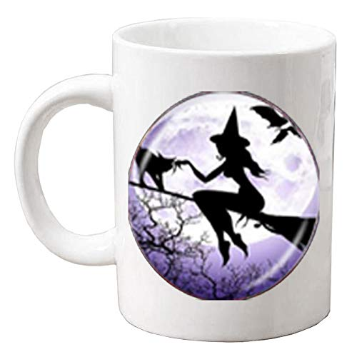 Sexy Witch with Broom Coffee Mug Full Moon Mug Wiccan Pagan Jewelry Glass Cabochon Sweater Chain Coffee Mug Cat Jewellery,Q0235
