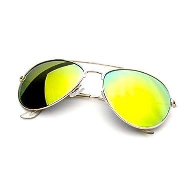 Emblem Eyewear - Premium Classique Cadre Métallique Miroir Réfléchissant De Miroir Lentille Lunettes De Soleil Aviateur (Feu Orange) fcPnB