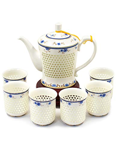 Dahlia Rice Grain Porcelain Tea Set (Teapot + 6 Teacups) In Gift Box, Ling Long Devil's Work Floral (Chinese Dragon Blue And White Rice Pattern)