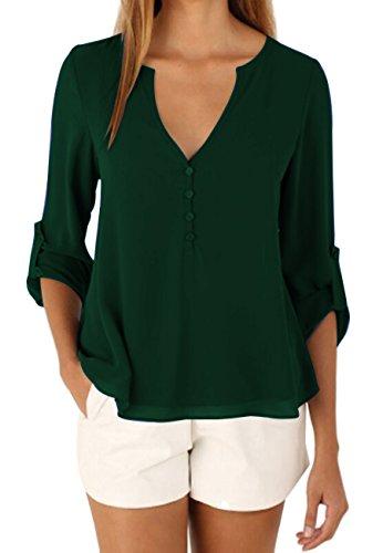 面白い本当にポルノomzinレディースカジュアルシフォンボタンVネックブラウスシャツプラスサイズ長袖トップ US サイズ: XL カラー: グリーン