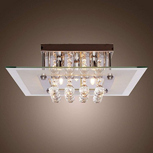 Lightess Mini Chandeliers Contemporary Crystal Drop Flush Mount Ceiling Lights Fixture with 5 Lights in Square Design by LIGHTESS (Image #6)