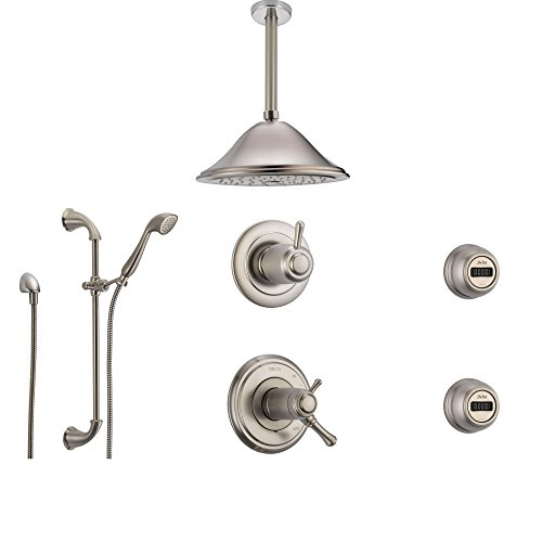 Delta Cassidy Stainless Steel Shower System with Thermostatic Shower Handle, 6-setting Diverter, Large Ceiling Mount Rain Showerhead, Handheld Shower, and 2 Body Sprays SS17T9795SS Delta Faucets