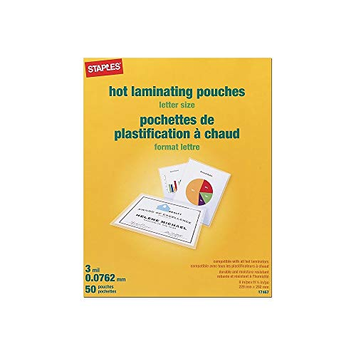 (Staples Letter Size Thermal Laminating Pouches, 3 mil, 50 Pack)