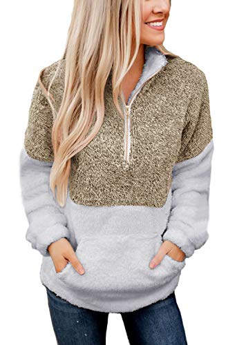 BTFBM Women Long Sleeve Zipper Sherpa Sweatshirt Soft Fleece Pullover Outwear Coat with Pockets (Khaki, Large)