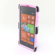 Fincibo (TM) Nokia Lumia 520 Hybrid Dual Layer Silicone + Hard Stand With Holster Protector Cover Case – Black/ Pink