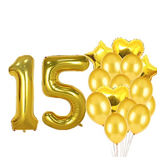 Sweet 15th Birthday Decorations Party Supplies,Gold Number 15 Balloons,15th Foil Mylar Balloons Latex Balloon Decoration,Great 15th Birthday Gifts for Girls,Women,Men,Photo Props ()