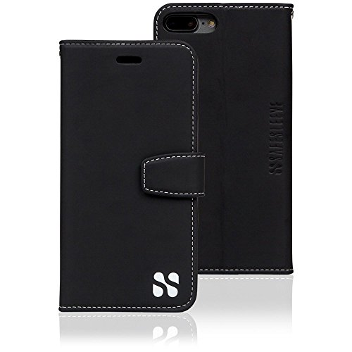 SafeSleeve 7+Blk Anti Radiation RFID Case for iPhone 7 Plus/8 Plus ELF and RF Blocking Identity Theft Protection Wallet - Black