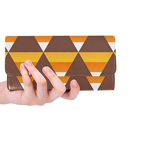 Unique Custom Halloween Candy Corn Women Trifold Wallet Long Purse Credit Card Holder Case Handbag -