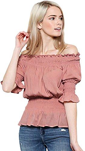 Trend Director Women's Short Sleeve Ruffle Smocked Off Shoulder Boho Top in White, Pink & Black (Medium, (Smocked Shoulder)