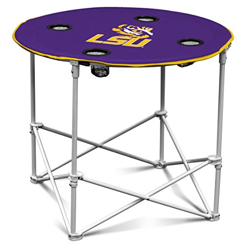 LSU Fighting Tigers Collapsible Round Table with 4 Cup Holders and Carry Bag (Round Holder Card)