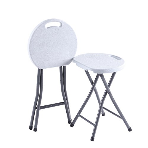 - TAVR Folding Stool,Set of Two,Light Weight Metal and Plastic Small Folding Stool,18.1 inch Height,400lb Capacity,Indoor/Outdoor Use,2-Pack White,CH1003
