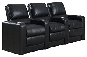 SeatCraft Barcelona Powered Theater Seating with Power Recline, Row of 3, Black