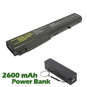 Battpit Bateria de repuesto para portátiles HP NW8440 - HP (4400 mah) con 2600mAh Banco de energía/batería externa (negro) para Smartphone
