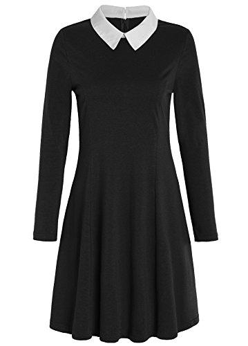 JustinCostume Women's Peter Pan Collar Dress Halloween Costume XS Black -