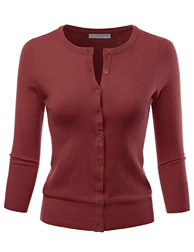 LALABEE Women's 3/4 Sleeve Crewneck Button Down Knit Sweater Cardigan Rust M ()