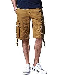 Match Men's Retro Camo Plaid Summer Polo Cargo Shorts (W40