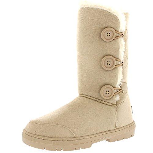 Beige Snow Boots (Womens Triplet Button Waterproof Winter Snow Boots - Beige - 8 - BEI39 AEA0173)