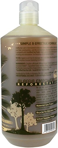 Alaffia - EveryDay Coconut - Hydrating Shampoo, Purely Coconut, 32 Ounces 6 100% FAIR TRADE: Feel good about how you are getting your products with 100% Certified Fair Trade Ingredients. LUXURIOUS CREAMY LATHER: This Certified Fair Trade virgin coconut oil shampoo gently washes away impurities without stripping hairs natural oils. FULL OF BENEFICIAL INGREDIENTS: African ginger mildly stimulates scalp circulation while coconut water nourishes hair with vitamins, minerals and essential amino acids.