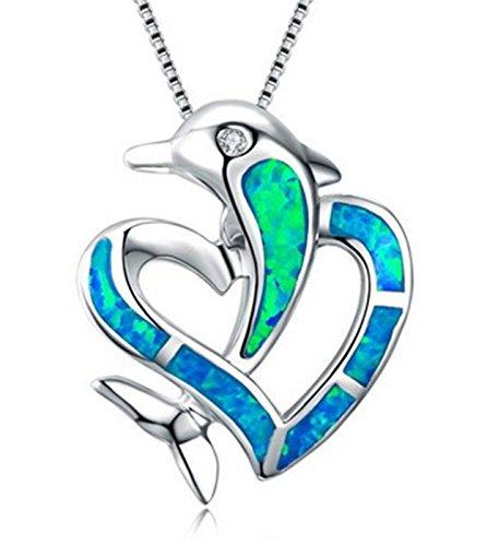Ezio Robes (Fortonatori Created Blue Opal Necklace Dolphin Heart 925 Silver Pendant Necklace 18