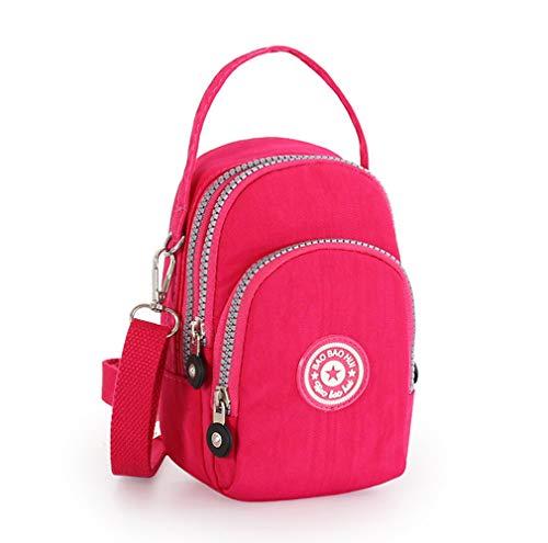 Women Canvas Small Crossbody Bag Cell Phone Purse Wallet Handbag for iPhone Xs Max XR 8Plus 7+ /LG G8 G7 V50 V40 V35 ThinQ/BLU Vivo XL4 G9/OnePlus 6T /Alcatel 3X 5V (DeepPink)