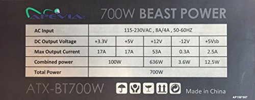 Apevia ATX-BT700W Beast 700W ATX Gaming Power Supply, Supports Dual/Quad Core CPUs, SLI, Crossfire, Haswell