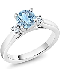 925 Sterling Silver Sky Blue Aquamarine and White Created Sapphire 3-Stone Ring (1.01 Ct Round, Available in size 5, 6, 7, 8, 9)