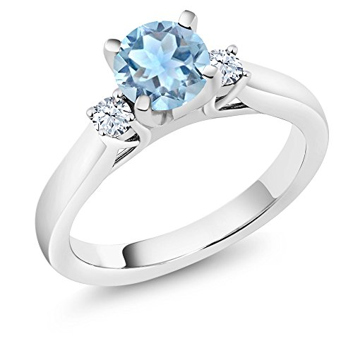 Sapphire Celtic Ring Blue (925 Sterling Silver Sky Blue Aquamarine and White Created Sapphire 3-Stone Ring (1.01 Ct Round, Available in size 5, 6, 7, 8, 9))