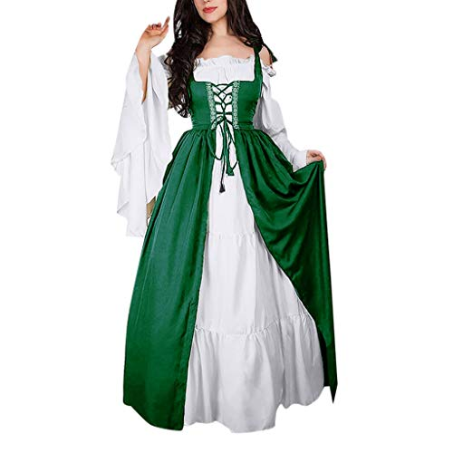 Birdfly Vintage Renaissance Petal Medieval Retro Princess Dress 50s Nobility Cosplay Dress Plus Size 3L 4L 5L (S, Deep -