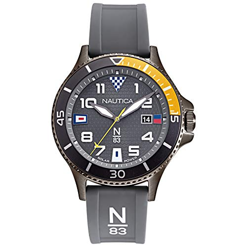 Nautica N83 Men's NAPCBA901 Cocoa Beach Gray/Yellow Silicone Strap Watch (Gray Watches For Men)