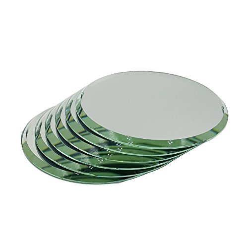 """3"""", Set of 6 Very High Quality Beveled Round Mirrors for Your Crystal Figurines and Other Collectibles (3"""")"""