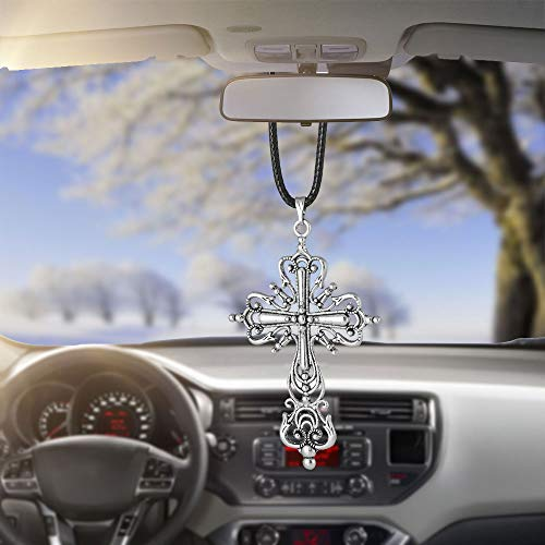 Various Men or Women Hanging Cross for Car or Truck Rearview Mirror or for Dressing or Home Decoration Fashion Personalized Car Rear View Mirror Pendant for Home Vehicle Interior Accessories (Cross 5)